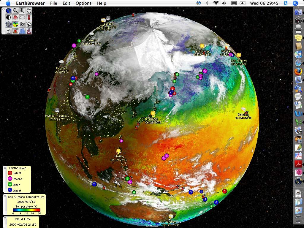 地球の状態をリアルに映し出す「EarthBrowser」(www.earthbrowser.com)